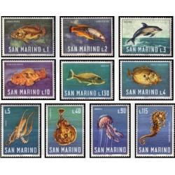 10 عدد تمبر زندگی دریائی - ماهیها - سان مارینو 1966
