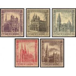 5 عدد تمبر کلیساهای سبک معماری گوتیک - تابلو - سان مارینو 1967