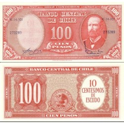 اسکناس 10 سنتسیمو - 100 پزو - شیلی 1961