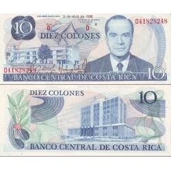 اسکناس 10 کلونس - کاستاریکا 1986 بدون نخ امنیتی - 98% حاشیه چند لک زرد کمرنگ دارد