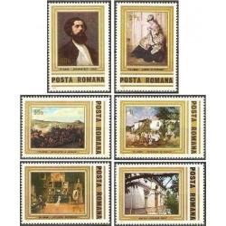 6 عدد تمبر تابلو نقاشی یادبود 150مین سال تولد تئودور آمان - رومانی 1981