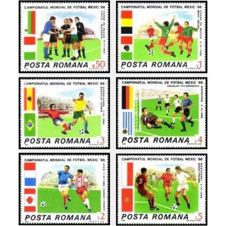 6 عدد تمبر جام جهانی فوتبال مکزیکو  - رومانی 1986