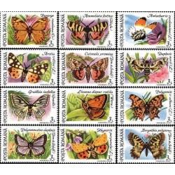 12 عدد تمبر پروانه ها  و بیدها- رومانی 1991 جدا شده از شیت
