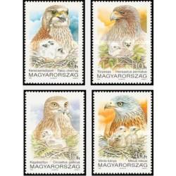 4 عدد تمبر پرندگان شکاری - مجارستان 1992