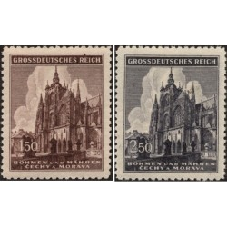 2 عدد تمبر ششصدمین سالگرد کلیسای سنت ویتوس پراگ - بوهمیا و موراویا 1944