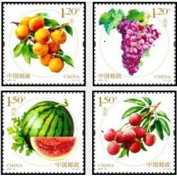 4 عدد تمبر میوه ها - برجسته - چین 2016