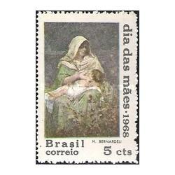 1 عدد تمبر روز مادر - تابلو نقاشی - برزیل 1968