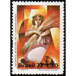 1 عدد تمبر روز دیپلمات - برزیل 1977