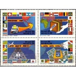 4 عدد تمبر بیستمین سالگرد وزارت پست و تلگراف - خدمات پستی - برزیل 1989
