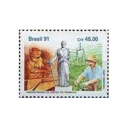 1 عدد تمبر 50مین سال  سیستم حقوقی دادگستری کار  - برزیل 1991