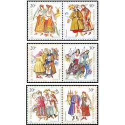 6 عدد تمبر لباسهای محلی - اوکراین 2001