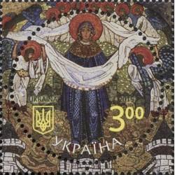 1 عدد تمبر شفاعت مریم مقدس - تمبر تابلو نقاشی - دایره ای شکل - اوکراین 2015