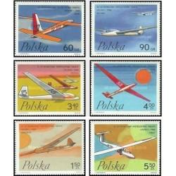 6 عدد تمبر مسابقات جهانی گلایدر در لژنو - لهستان 1968