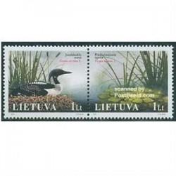 2 عدد تمبر کتاب قرمز - پرندگان - لیتوانی 2005