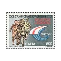 1 عدد تمبر مسابقات ورزشی داخل سالن - ایتالیا 1992