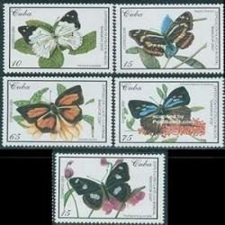 5 عدد تمبر پروانه های بانکوک - کوبا 2000