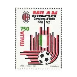1 عدد تمبر میلان قهرمان فوتبال ایتالیا - ایتالیا 1992
