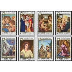 8 عدد تمبر کریستمس - تابلو نقاشی - عجمان 1969