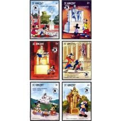6 رقم از 8 تمبر سری نمایشگاه جهانی تمبر واشنگتن - کاراکترهای والت دیسنی - سنت وینسنت 1989