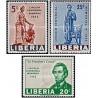 3 عدد تمبر صدمین سال مرگ آبراهام لینکلن - رئیس جمهور آمریکا  -لیبریا 1965