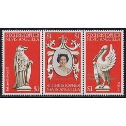3 عدد تمبر 25مین سال تاجگذاری - آنگوئیلا 1978