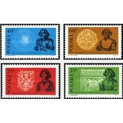 4 عدد تمبر یادبود پانصدمین سال تولد کوپرنیک - ستاره شناس - لهستان 1972