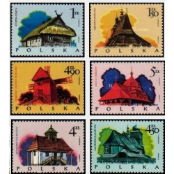 6 عدد تمبر معماری الواری - خانه ها - لهستان 1974