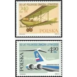 2 عدد تمبر پنجاهمین سالگرد تمبرهای پست هوائی لهستان - لهستان 1975