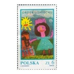 1 عدد تمبر پانزدهمین سال سفارش لبخند - نقاشی کودکان  -  لهستان 1983