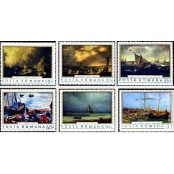 6 عدد تمبر تابلوهای نقاشی کشتیها - رومانی 1971