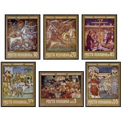 6 عدد تمبر تابلوهای نقاشی دیواری - رومانی 1971
