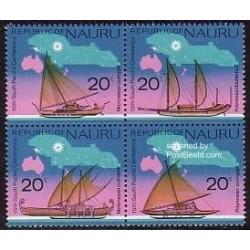 4 عدد تمبر کنفرانس آقیانوس آرام جنوبی - کشتی های بادبانی - نائورو 1975