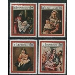 4 عدد تمبر کریستمس - تابلوهای نقاشی - ساموا 1969