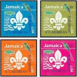 4 عدد تمبر ششمین مجمع پیشاهنگان - جامائیکا 1977