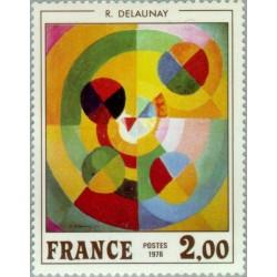 1 عدد تمبر هنر فرانسوی - تابلو نقاشی اثر رابرت دلونه  بنام لذت زندگی - فرانسه 1976