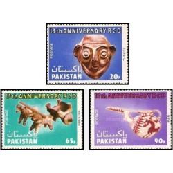 3 عدد تمبر 13مین سالگرد عمران منطقه ای برای توسعه - RCD - پاکستان 1977