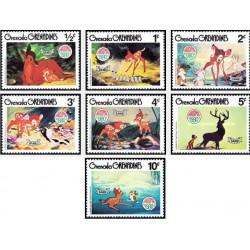 7 رقم از 9 عدد تمبر  کریستمس - صحنه هایی از کارتون بامبی والت دیسنی - گرندین گرانادا 1980