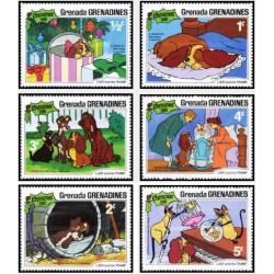 """6 رقم از 9 عدد تمبر  کریستمس - صحنه هایی از """"کارتون بانو و ولگرد"""" - گرندین گرانادا 1981"""