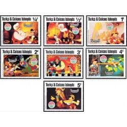 7 رقم از 9 عدد تمبر  کریستمس - صحنه هایی از کارتون پینوکیو - جزایر ترکها و کایکو 1980
