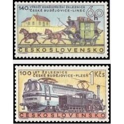 2 عدد تمبر صدمین سال راه آهن چک پیلسن  - چک اسلواکی 1968