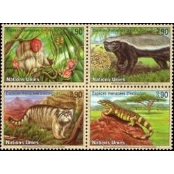 4 عدد تمبر گونه های در معرض انقراض  - جانوران - ژنو سازمان ملل 2002 قیمت 5.6 دلار