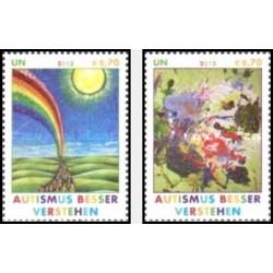 2 عدد تمبر آگاهی از اوتیسم - وین سازمان ملل 2012