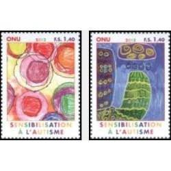 2 عدد تمبر آگاهی از اوتیسم - ژنو سازمان ملل 2012 قیمت روی تمبر 2.8 یورو