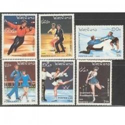 6 عدد تمبر المپیک زمستانی آلبرتویل - لائوس 1989
