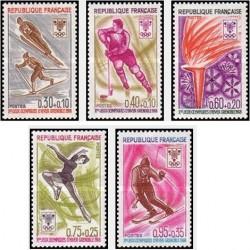 5 عدد تمبر بازیهای المپیک زمستانی گرنوبل ، فرانسه - فرانسه 1968