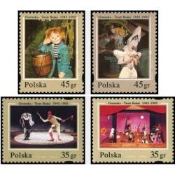 4 عدد تمبر 50مین سال تئاتر دنباله دار گروتسکا - لهستان 1995