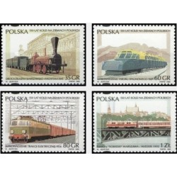 4 عدد تمبر 150 سالگی راه آهن لهستان - لهستان 1995