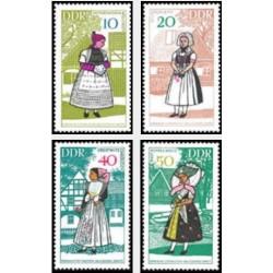 4 عدد تمبر لباسهای محلی - جمهوری دموکراتیک آلمان 1968