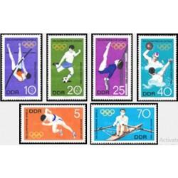 6 عدد تمبر بازیها المپیک مکزیکو سیتی - جمهوری دموکراتیک آلمان 1968