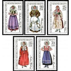 5 عدد تمبر لباسهای محلی سوبایی  - جمهوری دموکراتیک آلمان 1977